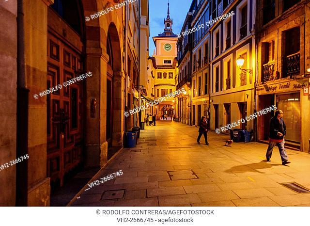 Oviedo streets at night, Asturias (Spain)