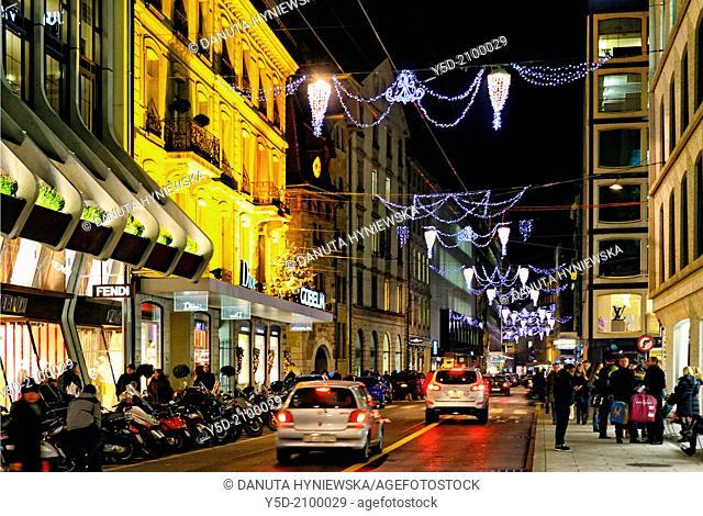 Commercial street - Rue du Rhone at night, Christmas season, Geneva, Switzerland, Europe