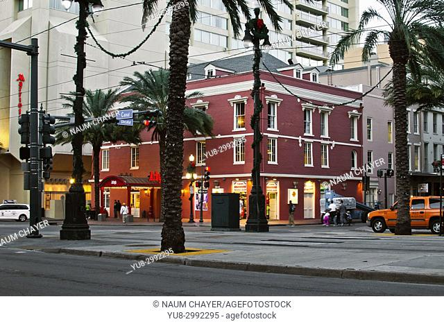 Red building, afternoon , Canal street, New Orlean, Louisiana, USA, North America