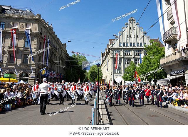 Band of guild members on guild parade, Spring Festival 'Sechseläuten', old town, Zurich, Canton Zurich, Switzerland