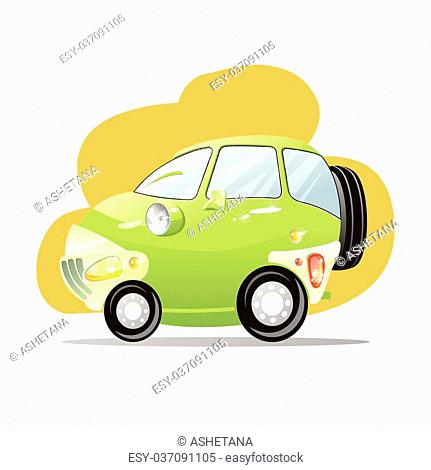 Cute car with the headlights in a cartoon style