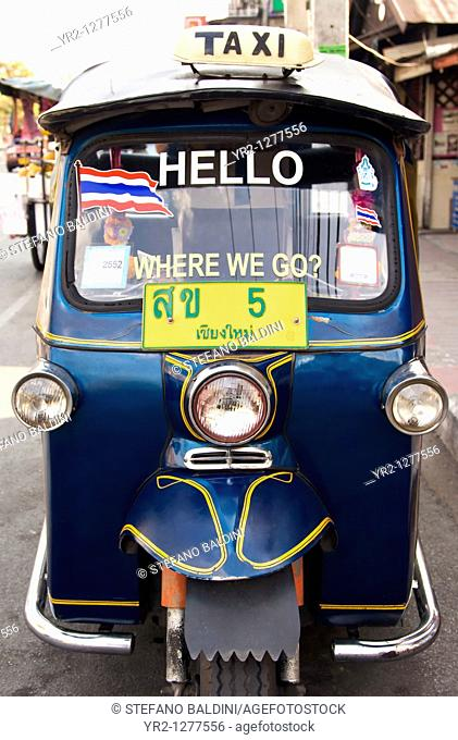 A tuk tuk taxi in Chiang Mai, Thailand