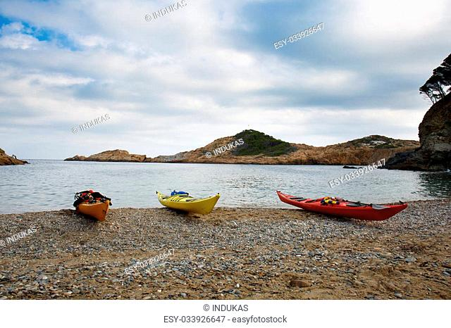 Kayaks in Sa Tuna beach in Begur, Costa Brava, Spain