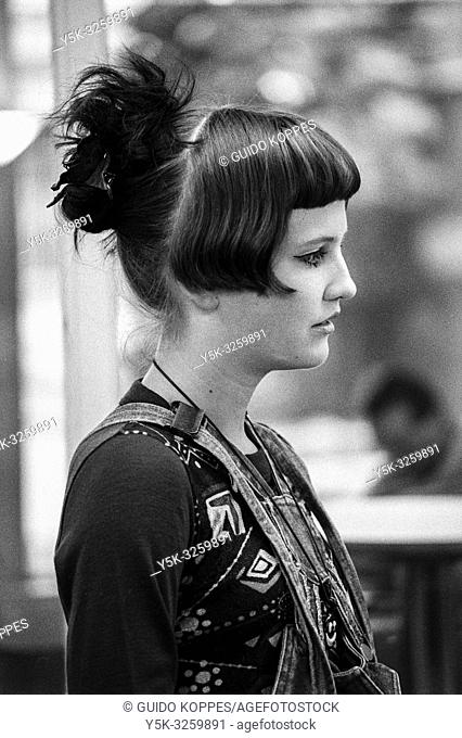 Tilburg, Netherlands. En profile portrait in black and white of a young adult, caucasian woman who dances for a living