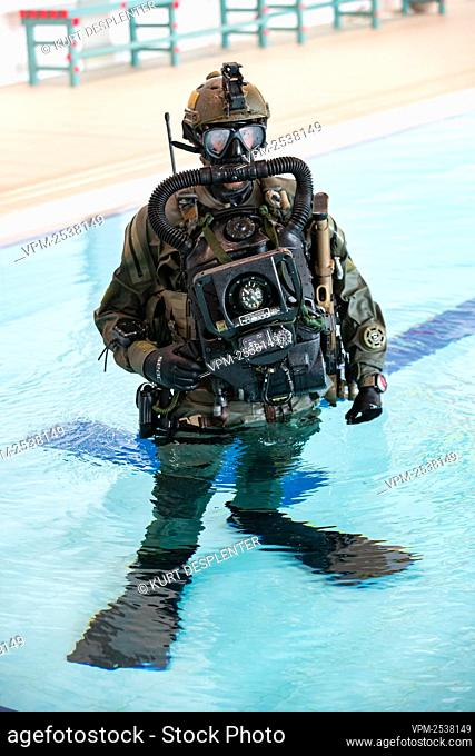 Illustration shows a special force soldier pictured at the military diving school at the Zeebrugge naval base, Friday 04 September 2020