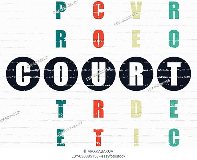 Law concept: Painted black word Court in solving Crossword Puzzle
