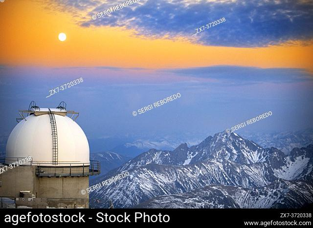 The Observatory Of Pic Du Midi De Bigorre in sunset time, Hautes Pyrenees, Midi Pyrenees, France