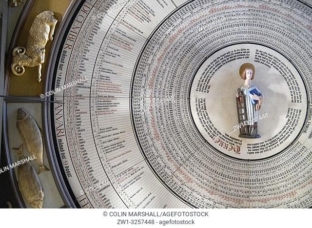 Astronomical clock (Horologium mirabile Lundense) with St Lawrence in centre, Lund Cathedral, Lund, Sweden
