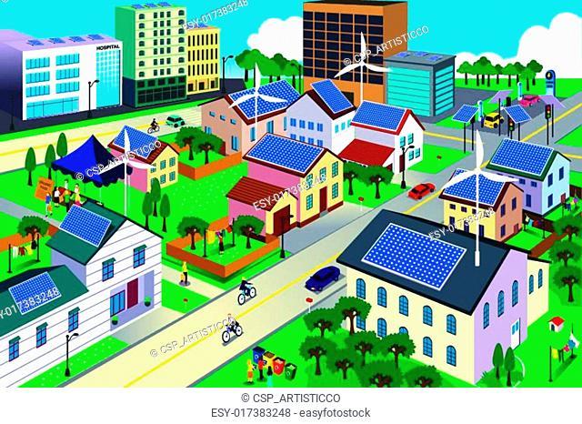 Green environment friendly city scene