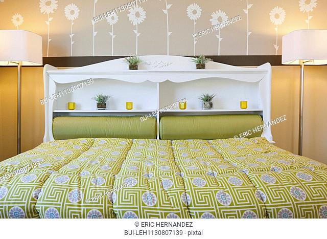 Interior of child's bed with floor lamps; Valencia; California; USA