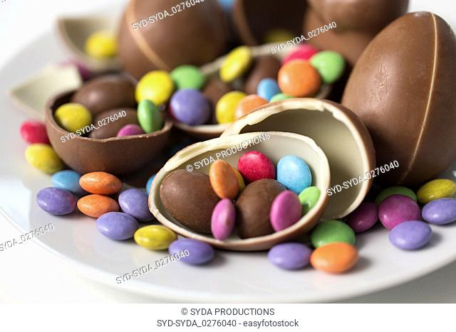 close up of chocolate eggs and candies on plate