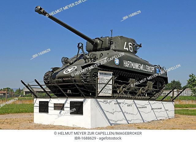 American tank from 1943 from the Second World War, Char Moyen Sherman M4 A1, Musée Mémorial Maginot museum, 20 Rue Rhin, Marckolsheim, Alsace, France, Europe