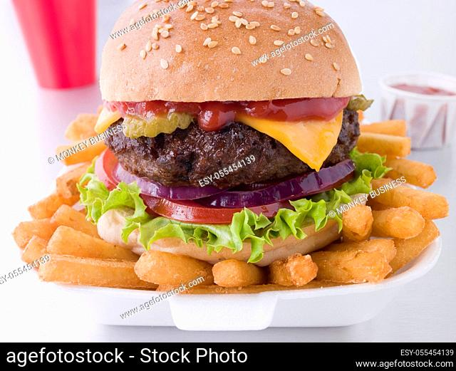 fast food, french fries, cheeseburger, burger