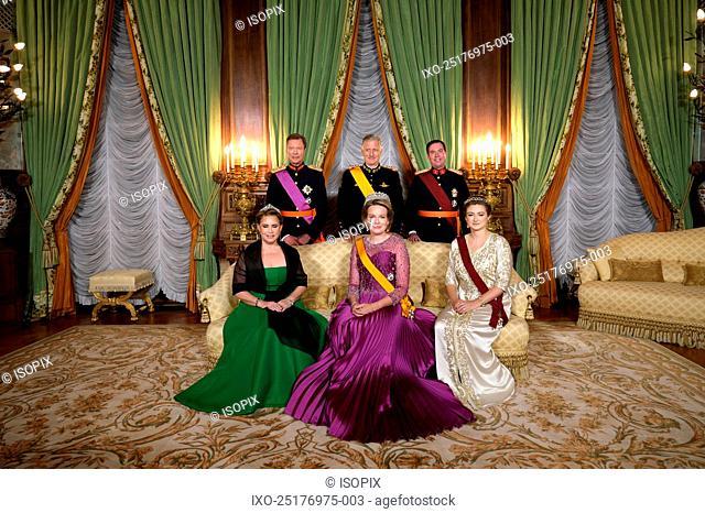 Grand Duke Henri of Luxembourg, Grand Duchess Maria Teresa of Luxembourg, King Philippe - Filip of Belgium, Queen Mathilde of Belgium and Prince Guillaume