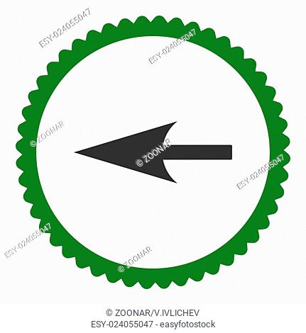Sharp Left Arrow flat green and gray colors round stamp icon