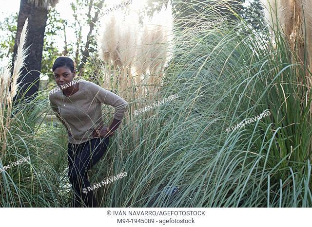 Black woman posing as a model