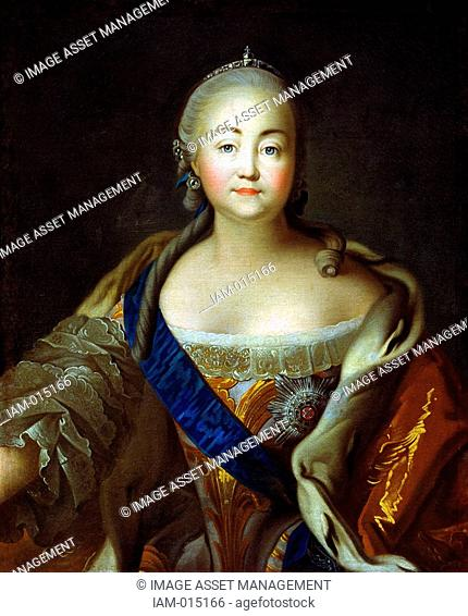 Portrait of Empress Elizabeth Petrovna'. Ivan Argunov 1727-c1829 Russian painter. Elizabeth 1709-1762 Empress of Russia from 1741, daughter of Peter the Great