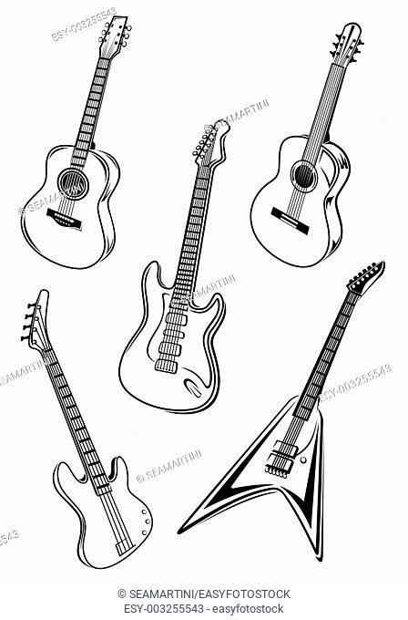 Set of music guitars isolated on white background for entertainment design