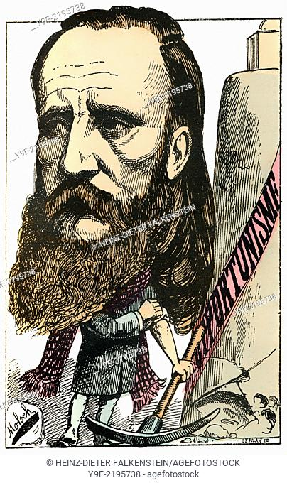 Henry Maret, 1837-1917, a French journalist and politician, Political caricature, 1882, by Alphonse Hector Colomb pseudonym B
