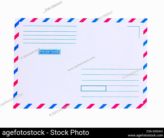 priority mail envelope isolated on white backgroound