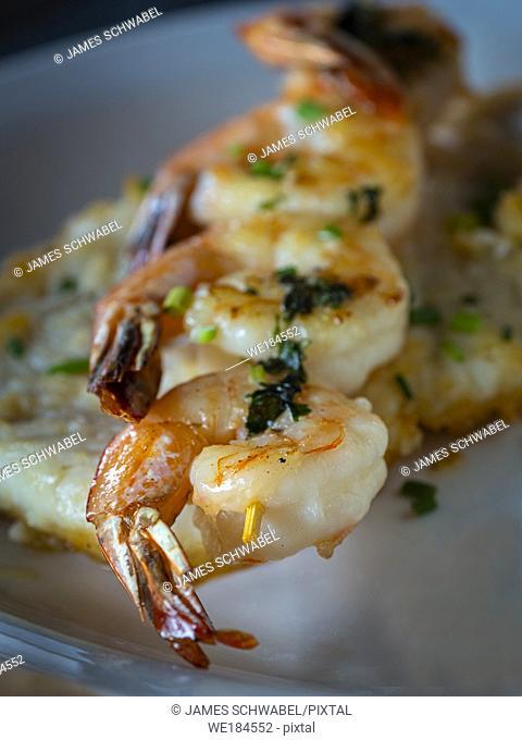 Closeup of Grilled Shrimp on skewer