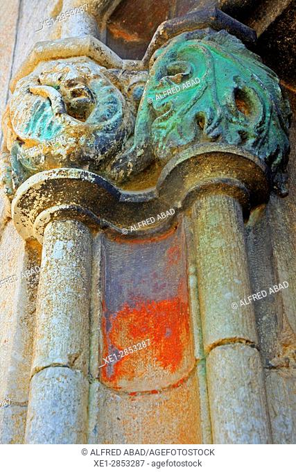 Capital of Sant Esteve church, Riudellots de la Selva, Girona, Catalonia, Spain