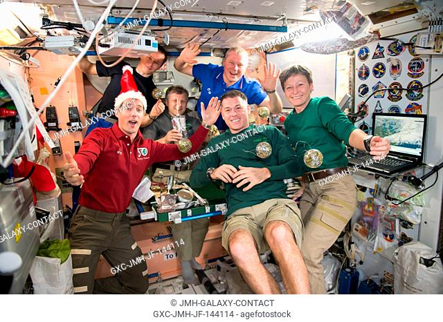 The crew of Expedition 50 gathered together to celebrate the holidays aboard the International Space Station. Front row: Thomas Pesquet of ESA (left) and NASA...