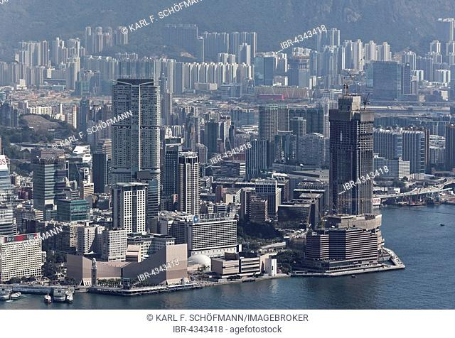 Skyscraper, skyscrapers in Tsim Sha Tsui, Clock Tower and Hong Kong Cultural Centre, Kowloon, view from The Peak, Victoria Peak, Hong Kong, China