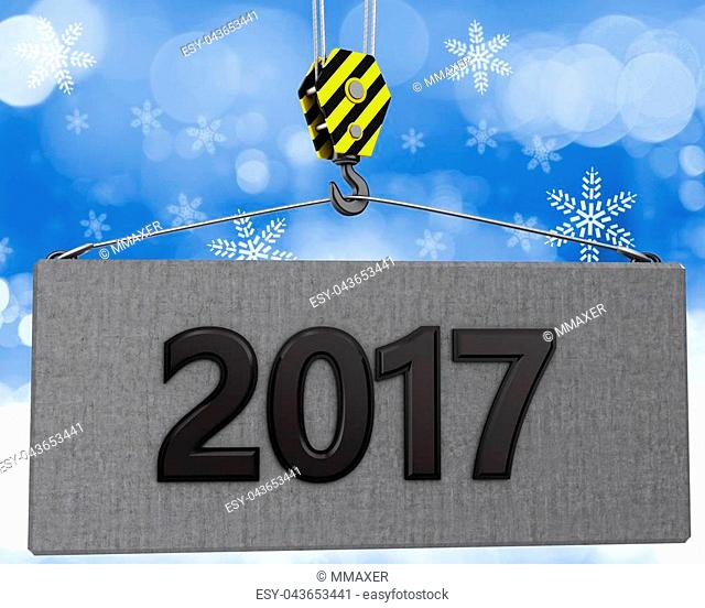3d illustration of 2017 sign with crane hook over snow background