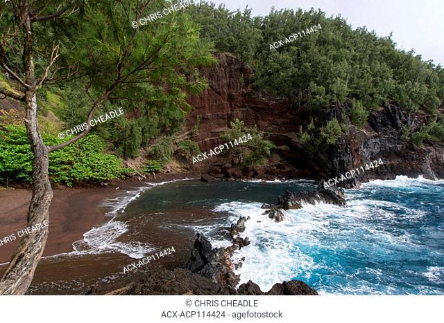 Red Sand Beach, Kaihalulu Beach, Hana, Maui, Hawaiian Islands, USA