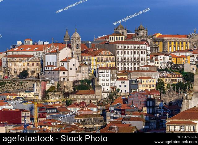 Porto cityscape on Iberian Peninsula, second largest city in Portugal. View from Gaia city