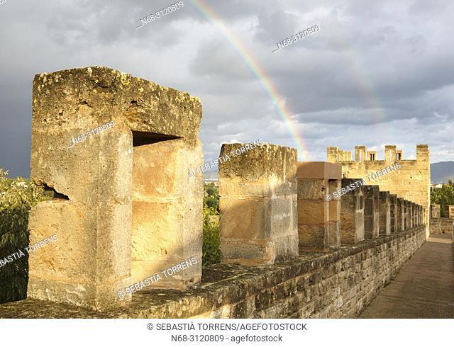 Alcudia walls and rainbow, Majorca, Balearic Islands, Spain
