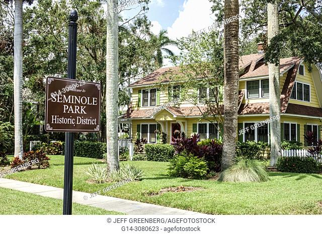Florida, Fort Ft. Myers, Seminole Park Historic District, neighborhood, house home residence, exterior, front yard, sign