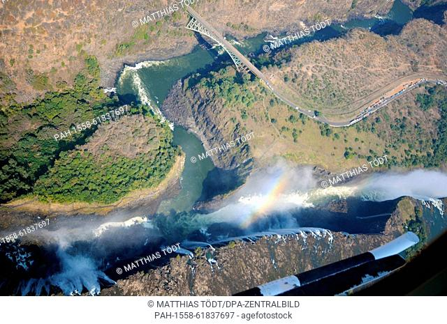 The edge of the Victoria Falls facing Zimbabwean territory, pictured on 30.07.2015. The Victoria Falls are the broad waterfalls of the Zambezi at the border...