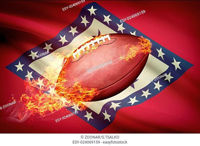 American football ball with flag on backround series - Arkansas
