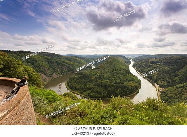 Saar river bend near Orscholz, Cloef view point, Cloef/Orscholz, Saarland, Germany