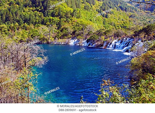 Asia, China, Sichuan province, UNESCO World Heritage Site, Jiuzhaigou National Park, Waterfall, Shuzheng Falls