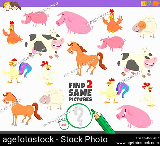 Cartoon Illustration of Finding Two Same Pictures Educational Activity Game for Children with Cute Farm Animal Characters