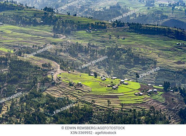 A view down into the farming communities nestled within the idyllic valleys outside Mekele, Ethiopia. Mekele, Ethiopia