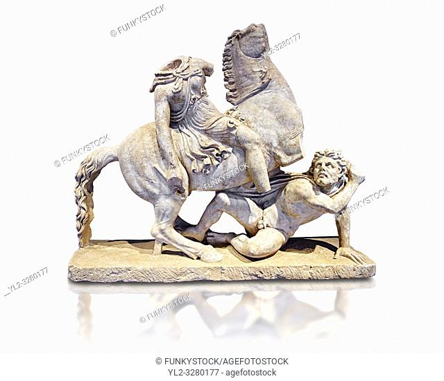 Roman Statue of an Amazon on horseback and a Barbarian, Circa mid 2nd cent AD excavated from the Imperial villa near Faro, Italy