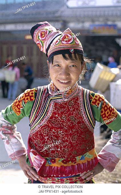 Minority Group / Woman Dressed in Ethnic Costume, Dali, Yunnan Province, China