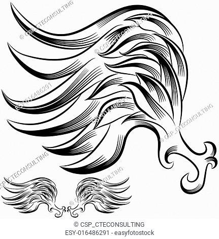 Wing Flourish Drawing