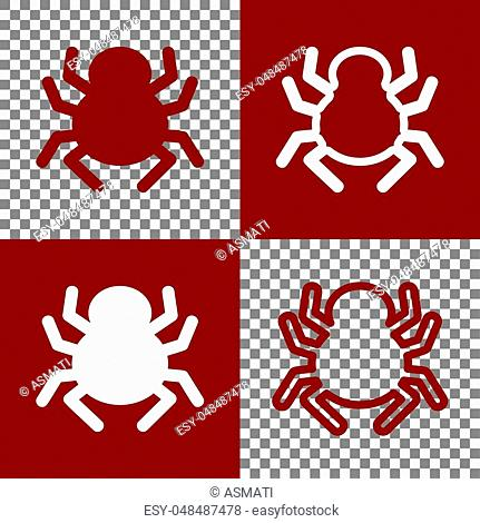 Spider sign illustration. Vector. Bordo and white icons and line icons on chess board with transparent background
