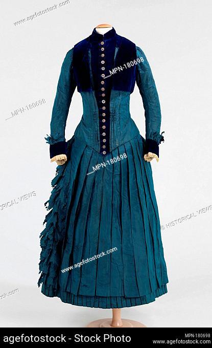 Dress. Date: ca. 1885; Culture: American; Medium: silk, cotton; Credit Line: Brooklyn Museum Costume Collection at the museum, Gift of the Brooklyn Museum
