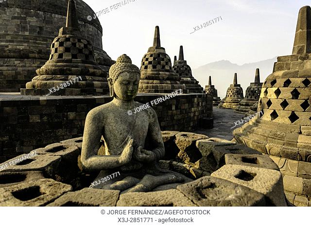 Statue of Budha in the famous temple of Borobudur