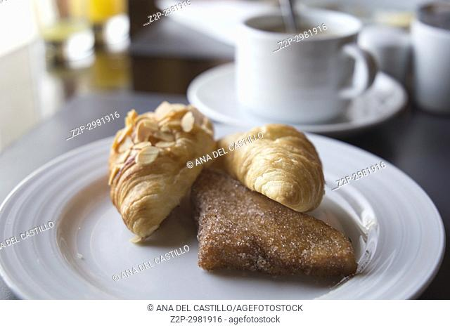 Breakfast dish with croissants