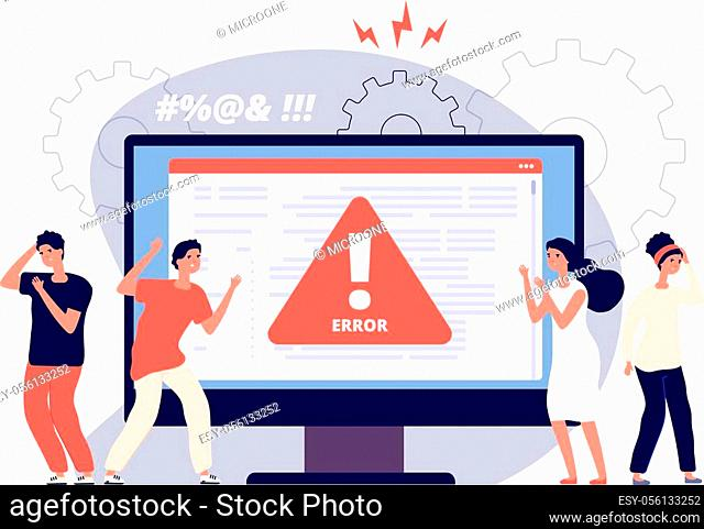 Computer error. Warnings unavailable page users, attention symbol alerts of problem, angry clients near monitor device, vector concept