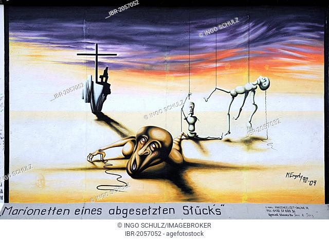 Marionetten eines abgesetzten Stuecks, Puppets of a cancelled play, by Marc Engel, painting on the Berlin Wall, East Side Gallery, Berlin, Germany, Europe