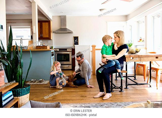 Parents in kitchen together with son and daughter