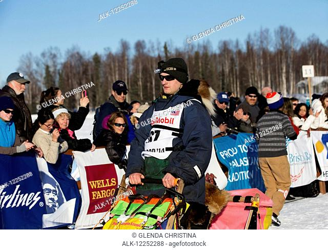 Wade Marrs heads down the chute during the restart of the 2014 Iditarod, Willow, Southcentral Alaska